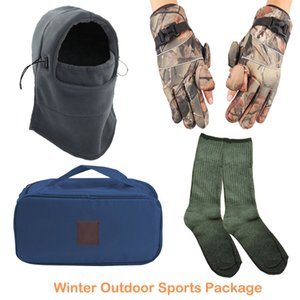 Winter Warm Keeping Windproof Beanie Hat Fleece Cap Gloves Thick Cotton Socks Outdoor Sports Fishing Hunting Hiking Skiing