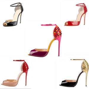 حار بيع جديد أحمر أسفل الكعب أزياء المرأة المسامير السامي اللباس اللمحة أصابع القدم أحذية الكعب العالي السوبر الصنادل مسنبل رصع مضخات أحذية عارضة