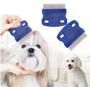 Pet Lice Comb não derrapante Handle Stainless Steel Pin Combs Grooming Limpeza Punny Nit Pet Piolho gratuito removedor escova Dog Flea remédios LSK78