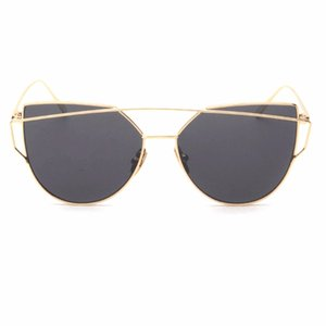 Outdoor Sun Glasses Reflective UV Protecting Sunscreen Lenses Ladies Cateye Sunglasses Metal Drop Shipping Outdoor Eyewear