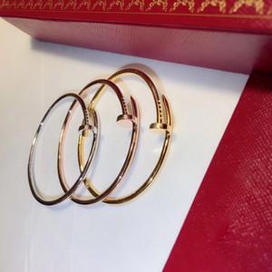 Bracciale marchio 2019Popular S925 puro chiodo argento vite primavera bracciale chiodo braccialetto di tendenza dal design classico ballo di modo coppie del partito di lusso