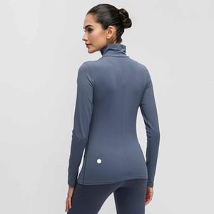 Deportes manga larga de la camiseta de las mujeres del color sólido del cuello alto de las mujeres al aire libre Correr Yoga transpirable aptitud medias Quick ropa seca L-012