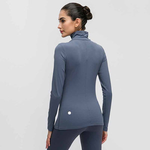 Frauen Sport-T-Shirt Frauen Solid Color hohe Kragen Outdoor Laufen atmungsaktiv Yoga Fitness Strumpfhosen Quick Dry Kleidung L-012