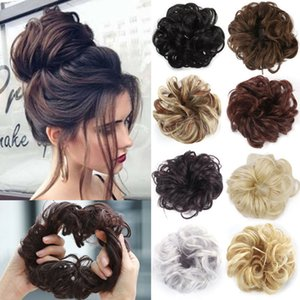 Sujo Coque Scrunchy extensões de cabelo sintético Anel Enrole Chignon Mulheres Preto Brown alta temperatura fibra ferramenta DIY Hairstyling 070317