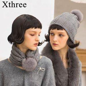 Beanie sombrero de invierno de propósito dual Xthree sombrero de la cachemira de las mujeres para los niños de piel de mapache Pom Skullies Cap Mujer Gorros