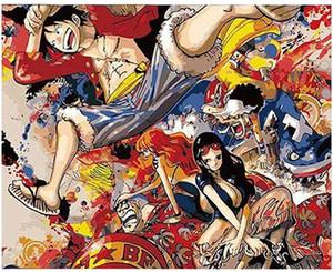"""Kitler Yetişkin El Numaraları Yağlı Boya-One Piece Naruto Animasyon 16 """"x20"""" ile DIY Boyama Boyalı Boya"""