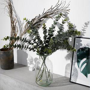 Plantas artificiales Plástico blando Eucalipto Plantas verdes rama Decoración del hogar Plantas falsas Hojas Decoración de la boda Simulación Bonsai LJJA3052