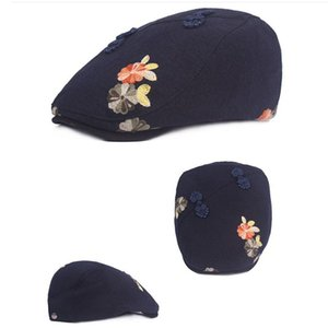 Travel Sunscreen Cap National Style Retro Disc Buckle Cap Chinese Style Cap Ladies Flower Beret Cotton And Linen Female HatHF