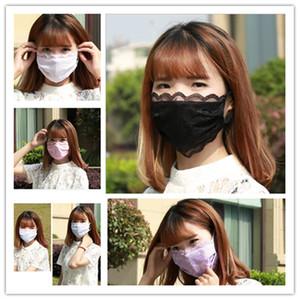 Кружевная Леди маска для лица мода дышащий солнцезащитный крем хлопок моющийся маска для лица женщины Велоспорт открытый маска 20 шт.