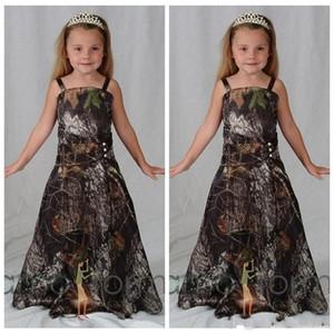 Belle Camo fille fleur pour le pays Western Forest Mariages Une ligne bretelles spaghetti longues filles Pageant Robes formelles