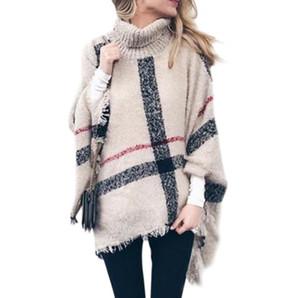 das mulheres de malha Turtle Neck Poncho Autumn Sweater Pulôver feminino Irregular Tassel Oversized Queda Casual Tops Brasão Poncho