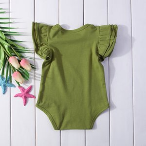 2018 Newborn Baby Girls Boys Ruffle Clothes Short Flying Sleeve Bodysuit Outfits Jumpsuit Casual Solid Clothes