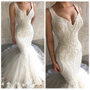 2021 Herrliche dünne Mermaid Brautkleider SpitzeAppliques mit Feder geschmückte Brautkleider Formal Frühlings-lange Vestidos De Novia Gewohnheit