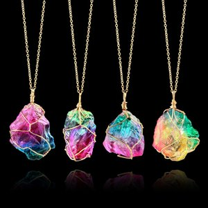 2020 Women irregular rhinestone jewelry colorful Natural original stone winding crystal pendant transparent multicolor chain necklace YD0546