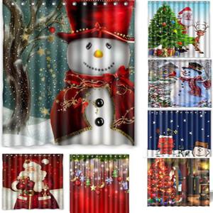 1pc élégant Joyeux Noël Salle de bain Rideau de douche imperméable à l'eau avec des crochets de Noël bonhomme de neige Père Noël rideaux