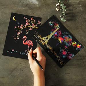 4pcs / set Sihirli Renkli Çizim Kurulu Kağıt Kazıma Çocuk Çocuk Doodle Kazı Oyuncak Boyama Eğitim Oyuncak öğrenme Boyama