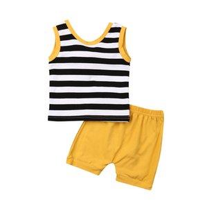 Новорожденные девочки без рукавов полосатый жилет топы+желтые шорты 2шт летние хлопчатобумажные наряды комплект одежды