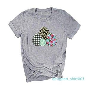 2020 Feitong Kadınlar tişört Mutlu Paskalya Harf Yumurta Leopard Baskı O-Yaka Kısa Kollu Tişört Tee Ropa Mujer d01
