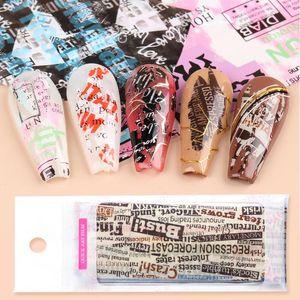 10pcs prego Slider Transferência Folha Newspaper Design Art Nail Decalques adesivas florais Letters polonês Manicure completa Wraps JI1565-1