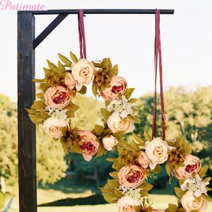 PATIMATE Пион венок ткань украшения искусственный венок крытый стены окна декор двери висит гирлянда свадьба поддельные шелковые цветы