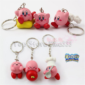 Kirby Figuras 6 PCS / Lote Mini Kirby Doll Toy viene con llavero Lindo Anime Kirby Accesorios