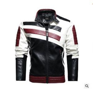 Mens PU Leather Jacket retalhos Jaquetas Manga comprida Zipper com bolsos mens roupa do inverno gola Casual