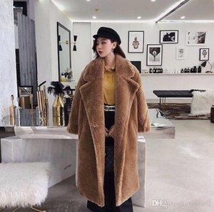 Oso de peluche rosado larga capa de la chaqueta de las mujeres de invierno caliente grueso fornida de gran tamaño prendas de vestir exteriores del sobretodo de lana de cordero imitación de las mujeres abrigos de pieles