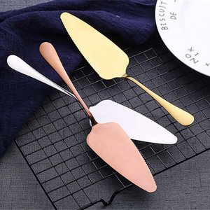 Stainless Steel Pizza Shovel 7 Colors Serrated Edge Cakes Server Blade Cutter Cheese Dessert Cutlery Bakeware Cake Spatula knife dropshiping