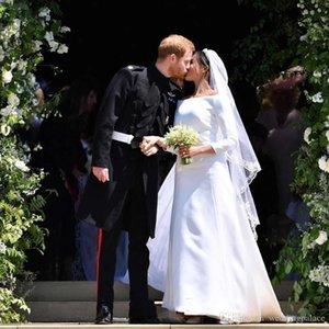 Princess Harry&Meghan Markle Wedding Dresses Newest 2020 Bateau Neck Long Sleeves Simple Satin Long Sweep Bridal Wedding Gowns