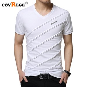 Covrlge 2018 Yaz Erkekler Kısa Kollu T-shirt erkek V Yaka Artı Boyutu 3xl 4xl 5xl Tee Gömlek Spor Slim Fit Camiseta Mts410 Y19050701 Tops