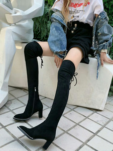 حار بيع مصمم أحذية النساء على امتداد الأسود الركبة الفخذ عالية التمهيد مارتن الصحراء الجوارب امرأة 6CM أحذية الكعب العالي والأحذية النساء