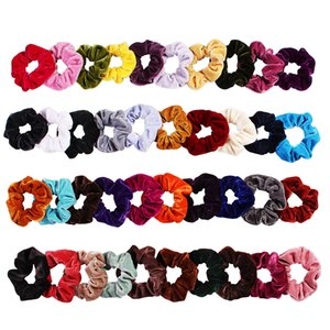 Wholesales 50PCS pack Korea Velvet Hair Scrunchie Elastic Hair Bands Solid Color Women Girls Headwear Ponytail Holder Hair Accessories