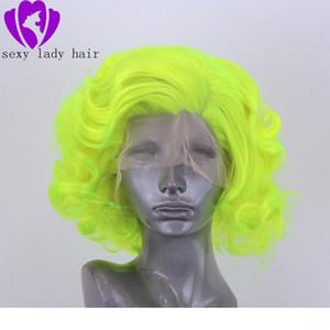 perruques de cheveux humains Polaris corto calor de la mano Verde resistente cabello atado Blogger diaria de maquillaje sintético del partido de Cosplay del frente del cordón