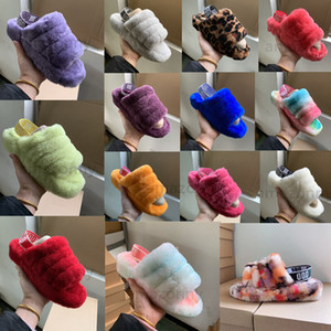 Kadın Kid Kürk Çizme Terlik Evet Kapalı Terlik Kolaylık Ve Rahat Moda Lüks Tasarımcı Sandalet Tasarımcı Ayaklı Boyutu 25-44 Flops