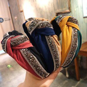 1PC Cristal Ampla Headband Moda, Mulheres, Meninas Patchwork cabelo brilhante Hoop Cruz Knot Bow Hairband presente