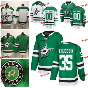 2019 Dallas Stars Fertigen Anton Khudobin genähtes Trikots Custom Home Green Stars Hemden # 35 Anton Khudobin Hockey Jerseys S-XXXL