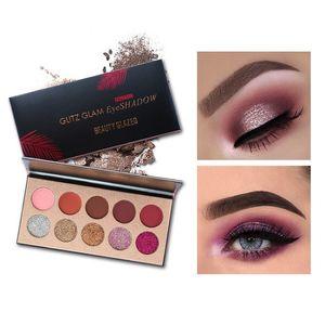 Beleza Glitz Glitz Glam 10 Cores Glitter Eyeshadow Paleta Lantejoulas Sombra Marca Shimmer Beleza Maquiagem Marca Frete Grátis