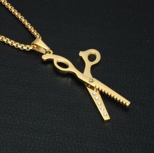 HIP 316L из нержавеющей стали Кристалл Мозаика Стрижка Ножницы Подвески Колье серебряное ожерелье цвета для мужчин Barber Shop Jewelry