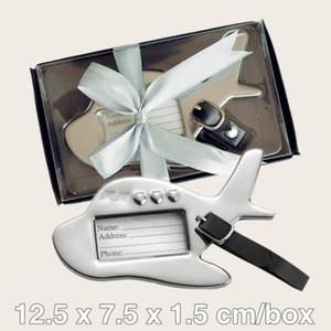 100Pcs / lot Spezielle kleine Hochzeit Bevorzugungen von Flugzeug-Gepäckanhänger in Schwarz und Weiß Geschenk-Box für Reisen Themed zu