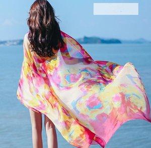 200 * 140 centímetros Moda lenços de seda Xaile Mulheres Chiffon Toalha de Praia Blanket Floral Imprimir Verão Sunscreen Wraps da equitação da menina Scarf GGA3376-2
