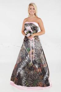 Nuovo Glamorous Camo Un abiti da sposa linea Plus Size formali rosa del treno di corte in raso abiti da sposa sexy senza spalline abiti da sposa Lace-up