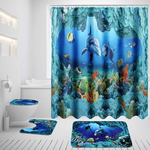 Ocean Dolphin Deep Sea tenda della doccia in poliestere tende impermeabili per piedistallo Tappeto coperchio del WC Bagno + copertina Bagno Mat Set SH190919