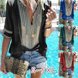 Estate Magliette popolari Top Stripe Deep V Mulit Colori Pluse Size Camicette Costume Ethnic Women Home Clothes 23 5lq E1