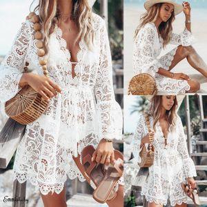 새로운 2020 여름 여성 비치 비키니 커버 업 수영복 꽃 무늬 레이스 중공 크로 셰 뜨개질 수영복 커버 - 업 수영복 비치웨어 튜닉 비치 드레스