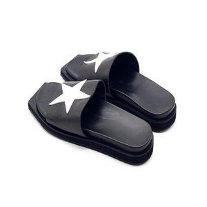 Summer Men Loafers Slippers Med Irregular Platform Flats Slides Star Spliced Top Quality Genuine Leather Unisex Beach Slippers