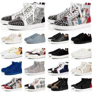 2020 christian louboutin red bottoms sapatos de grife para homens mulheres moda spike sneakers triplo preto branco vermelho couro camurça mens trainer bottoms flat sapato de luxo