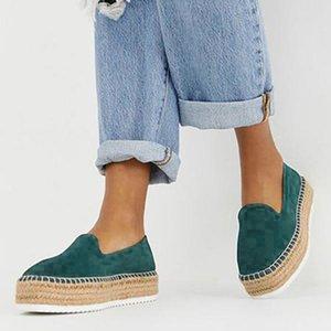 Zapatos casuales de pisos de imitación ante de las mujeres de los holgazanes de las alpargatas de damas cómodo -slip Zapatos