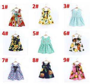 Bébés filles Cerise Citron Pineapple Imprimé Gilet Robe mignon d'été Backless robe de plage pour enfants Robe sans manches en coton BY0828