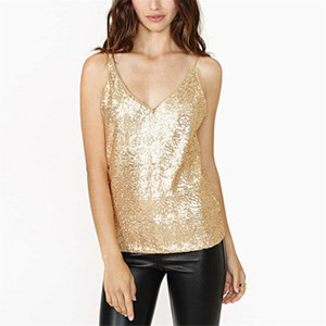 Sequin Camisole Women Vest Top Paillette Vest Shirt Camis Bling Shinny Sleeveless Tops Tees Summer Women Cami