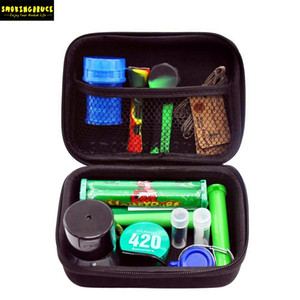 Premium Tobacco Bag Set Plastic Smoking Herb Grinder Storage Jar Metal Tin Silicone Smoking Pipe One Hitter Dugout Rolling Machine